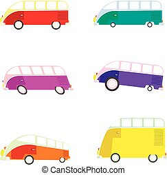 Colorful cartoon travel bus collection. Surfing retro buses...