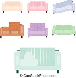 Sofa icon set in flat and cartoon style