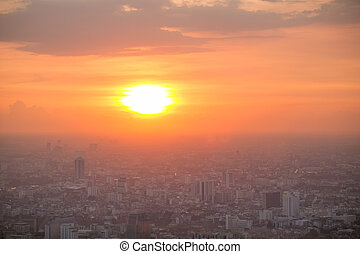 Beautiful sunset over Bangkok downtown