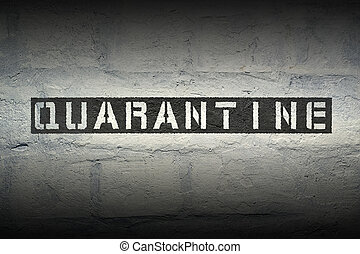 quarantine WORD GR - quarantine stencil print on the grunge...