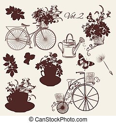 Big floral collection of vector objects flowers, pots,...