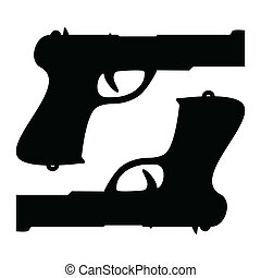 Two guns - Illustration of silhouettes of two guns on a...