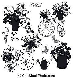 Floral collection of vector objects flowers, pots, bicycles...
