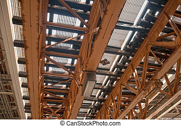 Railroad Tracks From Below - View of railroad tracks in...