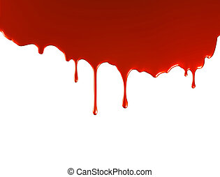 Red paint pouring over white background