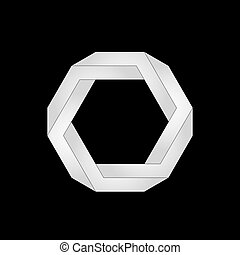 Optical illusion. hexagon - Impossible shape, hexagon....