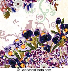 Floral vector background  with detailed flowers in purple color.eps