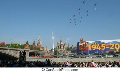 Victory parade on 9th of May in Moscow, planes fly over...