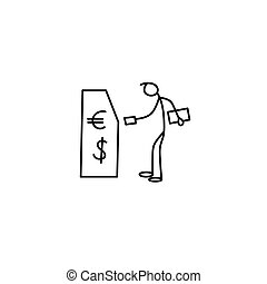 Cartoon icon of sketch little stick figure man withdrawing...