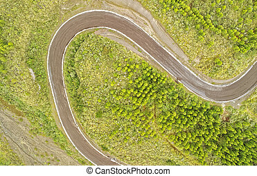Sinuous Road Cotopaxi National Park - Aerial Shot Of An...