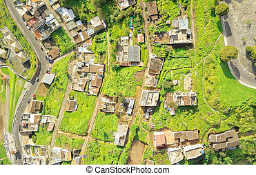 Neighborhood In South Of Quito Aerial - Quito Ecuador...