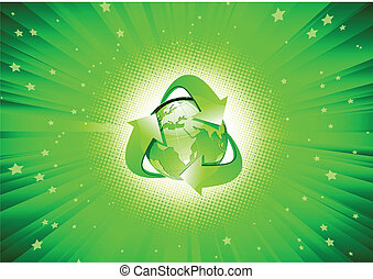abstract Background - Vector illustration of abstract green...