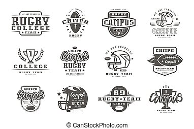 Badges set of campus rugby team. Graphic design for t-shirt....
