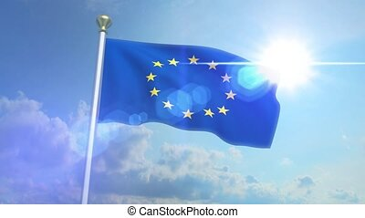 Euro Europe Flag Waving Eurozone EU European Union 4k