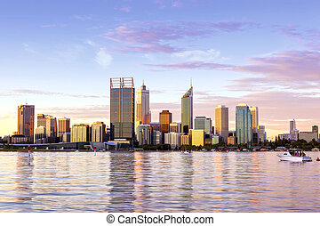 Perth Western Australia skyline at Sunset