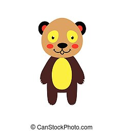 Cheerful colored panda bear on a white background. Vector...