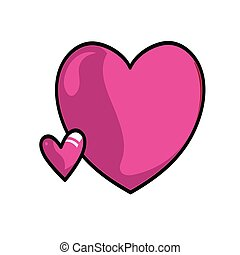 Pink hearts on a white background
