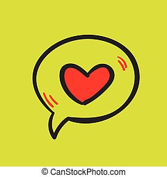 Love message and heart on a yellow background