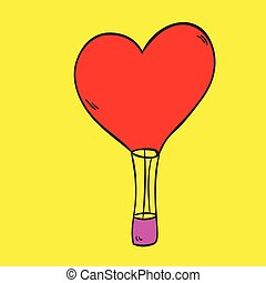 Hot Air Balloon love on a yellow background