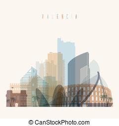 Valencia skyline silhouette.