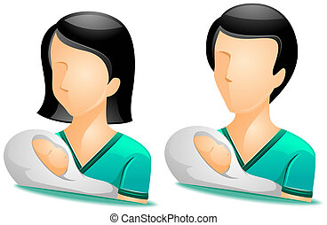 Pediatrician Avatars with Clipping Path