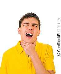 Young Man with Sore Throat Isolated on the White Background