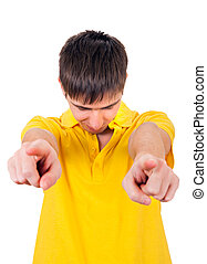 Young Man pointing at You - Sad Young Man pointing at You...