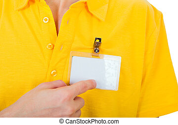 Person with Empty Badge - Person shows blank Badge on...