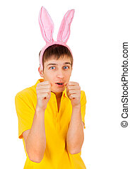 Young Man with Rabbit Ears - Young Man with Bunny Ears...