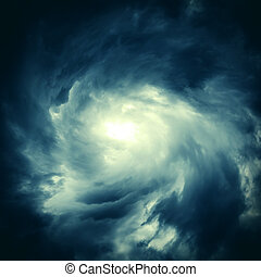 Cloudscape with Ray of Light - Toned Photo of Blurred Swirl...