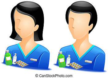 Pharmacist Avatars with Clipping Path