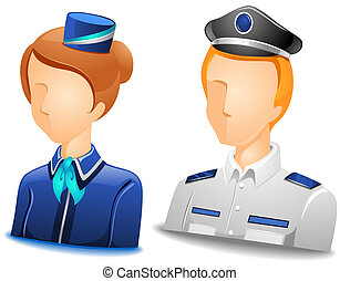Pilot Stewardess Avatars with Clipping Path