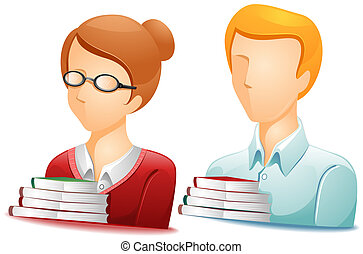 Librarian Avatars with Clipping Path