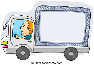 Driving Truck - Man Driving Truck with Copyspace with...