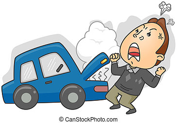 Car Trouble - Angry Man having Car Trouble with clipping...