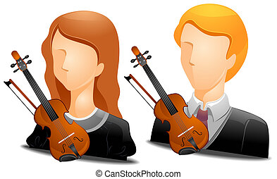 Violinist Avatars with Clipping Path
