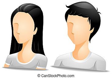 Asian Avatars with Clipping Path