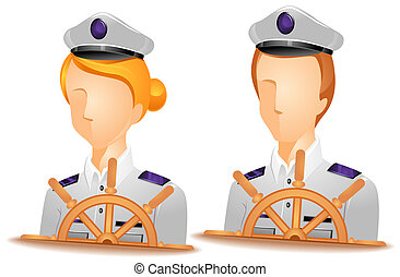 Ship Captain Avatars with Clipping Path