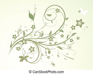 Floral Background - Vector illustration of swirling...