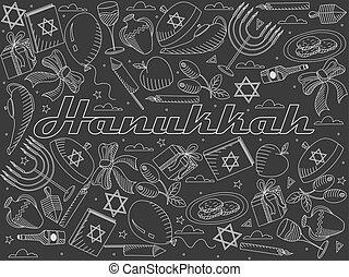 Hanukkah line art design vector illustration chalky....