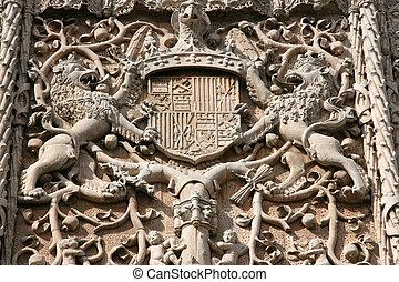 Valladolid - Ornamental plateresque facade of Colegio de San...