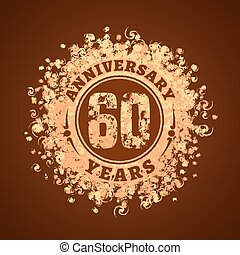60 years anniversary vector icon, logo. Graphic design...