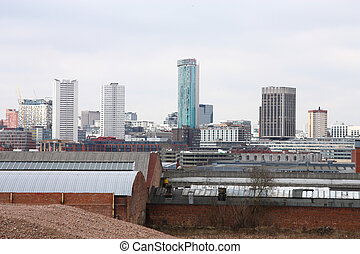 Birmingham cityscape with modern office buildings seen from...