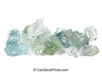 aquamarine crystals isolated on white background