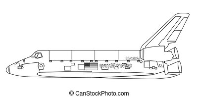 Shuttle Outline Drawing - A typical space shuttle line...