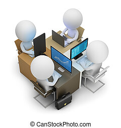 3d small people - development team of four work places. 3d...