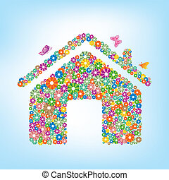floral house - vector illustration-floral house
