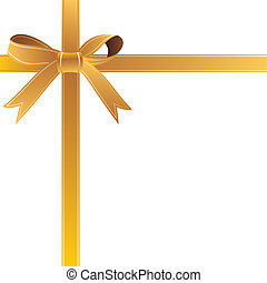 gold gift bow - vector illustration-gold gift bow