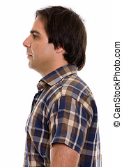 Profile view of young Persian man