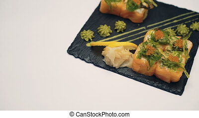 Sushi dish on white background 4K.